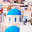 Church with the blue roof. Oia Santorini Greece — Stock Photo