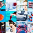 Collage - microbiology, genetics, scientists — Stock Photo #35649323