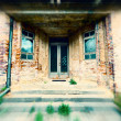 Entrance to the old brick building, blur effect — Stock Photo