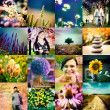 Collage with flowers and girls in the lomography style — Stock Photo