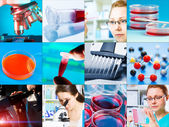 Collage - microbiology, genetics, scientists — Stock Photo