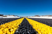 Yellow stripes on the highway — Stock Photo