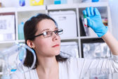 Woman in the microbiology laboratory — Stock Photo