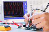 Development of an electronic micro processor — Stockfoto