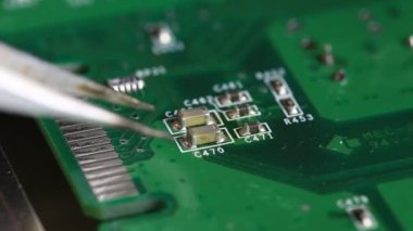 Hot air soldering SMD parts — Stock Video