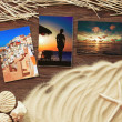Stock Photo: Marine items on a wooden boards against sandy background, blank