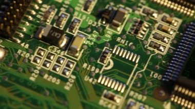 Chips on a electronics printed circuit board — Stock Video