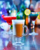 Irish coffee on bar interior — Stock Photo
