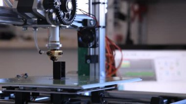 Printing  with plastic wire filament on 3d printer — Stock Video