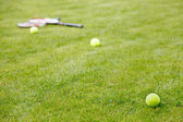 Tennis ball and racket on the grass — Foto de Stock
