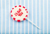 "Lolipop that says ""I love you"" — Stock Photo"