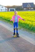 Girl on rollerblade — Stock Photo