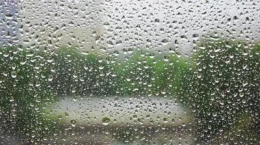 Raindrops on window glass — Stock Video