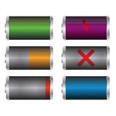 Set of beautiful battery charge level indicators — Stock Vector
