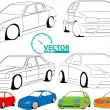 Stock Vector: Car set and speedometer