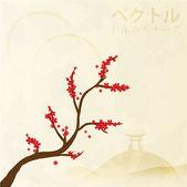 Sakura şubesi çiçeklenme — Stok Vektör