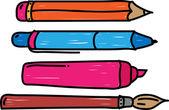Pero, tužka, značka a štětec — Stock vektor