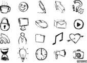Hand-zeichnung skizze-icon-set von verschiedenen objekten — Stockvektor