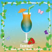 Coctail summer background — Stock Vector