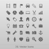 Gray modern icon set — Vector de stock