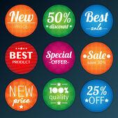Conjunto de adesivos coloridos de publicidade — Vetorial Stock