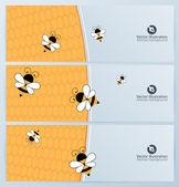 Banner set with bees and honeycomb — Stockvector