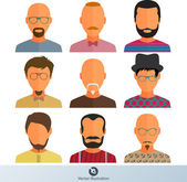 Colorful Male Faces Icons Set — Stock Vector