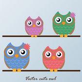 Cute Vector Owls — Stock Vector