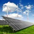 Solar energy panels and wind turbine — Stock Photo #12703630