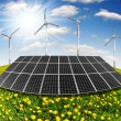 Solar energy panels and wind turbine — Stock Photo #13151550