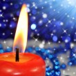 Burning red candle — Stock Photo