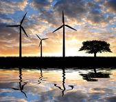 ツリーと風力タービン — ストック写真