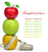 Apple collection with measuring tape — Stock Photo