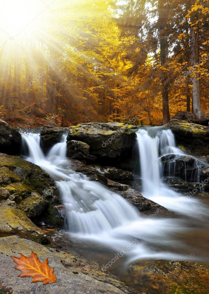 Waterfall in the autumn forest in Czech Republic — Stock Photo #13266165