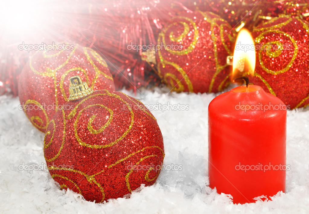 Christmas decorations with burning candle  Stock Photo #13520264