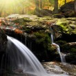 Waterfall in the autumn forest - Stockfoto