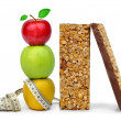 Stock Photo: Chocolate Muesli Bars with apples