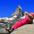 Girl looking at the Matterhorn — Stock Photo #13742782