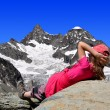 Stock Photo: Girl looking at the beautiful Mount Gabelhorn