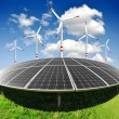 Solar energy panels and wind turbine — Stock Photo #14400443