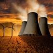 Nuclear power plant and wind turbines — Stock Photo