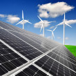 Solar energy panels and wind turbine — Stock Photo