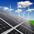 Solar energy panels and wind turbine — Stock Photo #14970511