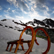 Old wooden sledge — Foto Stock