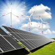 Solar energy panels and wind turbine — Stock Photo #16311009