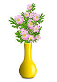 Dog rose in the yellow vase — Stock Photo