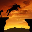 Rider on a jumping horse — Stock Photo
