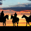 Silhouette cowboys - Stok fotoraf
