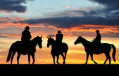 Silhouette cowboys — Stock Photo