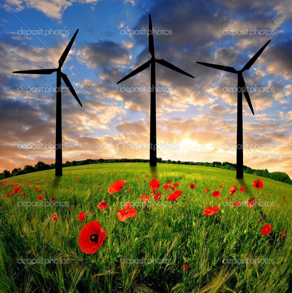 在麦田的风力涡轮机